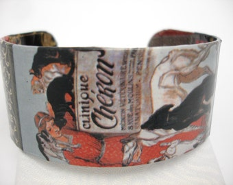 Clinique Cheron Poster Vintage Poster Cuff Decoupage Cuff Bracelet