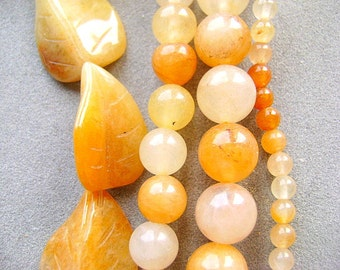 BEADS, GOLDEN, JADE, Honey, Natural, 4,8,10mm, Round, Carved Leaf, Un-treated, Yellow, Cream. Full Strand, 16 Inch,Sale,  I