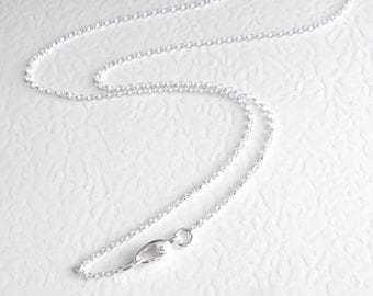 24 inch Sterling Silver Chain, 60 cm Rolo Necklace, Arthritis Friendly Clasp, Finished Chain for Necklaces