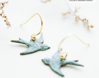 Handmade patina Swallow earring, hanging on Gold filled ear wire