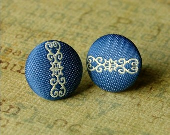Fabric Covered Stud Earrings - Navy Blue and Pale Green Post Earring Pair