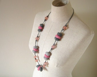 Wool Felted Pebbles Neckalce -  Candy Pink and Grey Shades