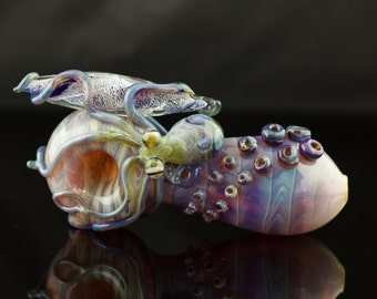 Octopus Large Glass Spoon Pipe Hand Blown Thick Wall in Amber Purple & Light Blue Amber Purple, Ready to Ship #229