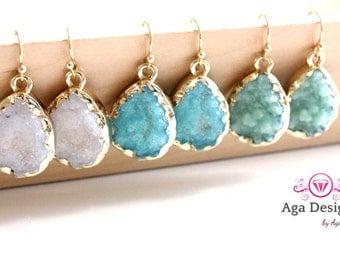 Druzy jewelry -  SALE -  Druzy color earrings - rich color - pick your color