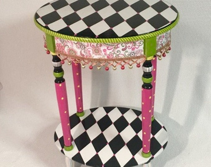 Whimsical Painted Furniture, Whimsical Painted Table, Whimsical Painted Furniture, Harlequin Table, Alice in wonderland furniture