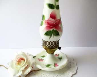 Milk Glass Lamp Pink Rose Hurricane - Vintage Chic