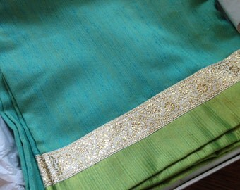 Stunning Vintage Table Cloth, Square in Iridescent Turquoise and Lime Green with Gold Brocade Ribbon