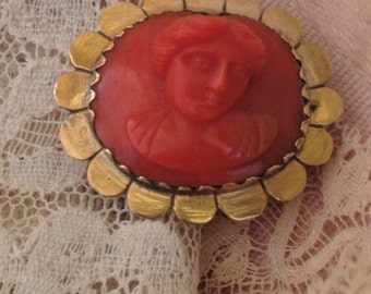 Victorian Orange Coral Cameo, Hand Carved