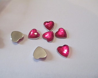 30 Flat Back Pink Heart Resins Craft Supply