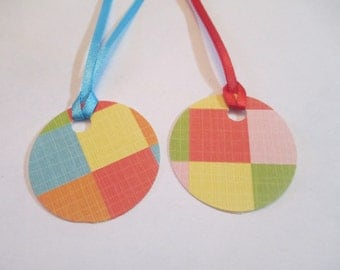 10 Handmade Round Patterned Gift Hang Tags