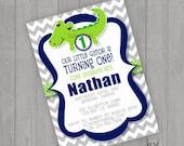 Alligator Birthday Boy Invitations Gator Party Invite You Print Personalized Chevron Blue Green Customized 5x7 or 4x6