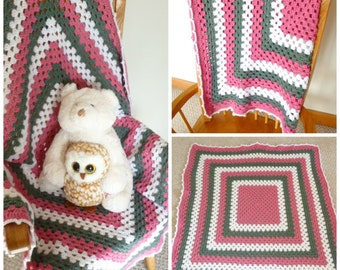 Crocheted Baby Blanket, Baby Girl Crocheted Blanket in Pink, Gray, and White