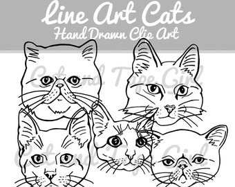 Cat Clip Art - Hand Drawn, Line Art Clipart, Digital Stamp, Coloring Page, Cat Illustration