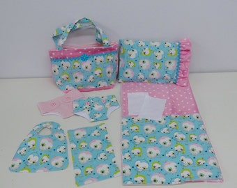 Bitty Baby Basics in Baby Bird - Diaper Bag and Diapers with Blanket and Pillow