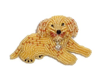 LABRADOODLE LOVE beaded Golden Doodle dog pin pendant art jewelry (Made to Order) Free US Shipping