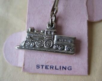 Train Engine Sterling Charm Silver Vintage 925 Locomotive
