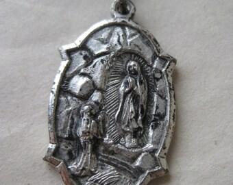 Our Lady of the Woods Shrine Pendant Medallion Charm Silver Mio Michigan Christian Catholic