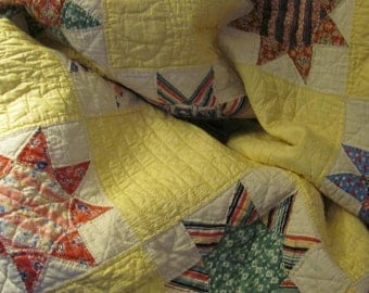 Wow...Lowered Price...Vintage, 1930's Eight Point Star Pattern Scalloped Quilt, with Inscription