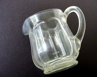 Vintage Glass Pitcher, Clear Paneled Glass, One Quart