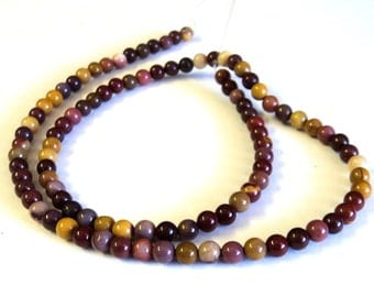 """Mookaite 4mm Smooth Round Beads, 16"""" Strand, Brown Yellow Red Beads, Jewelry Supplies"""