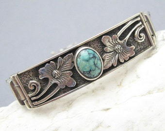 Sterling Turquoise Bracelet Wheat Chain Vintage Jewelry B7086