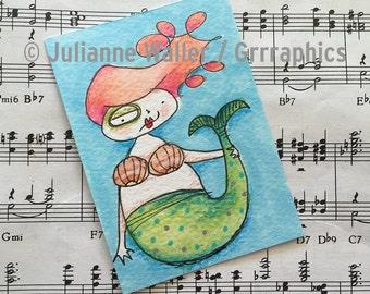 watercolor mermaid ACEO / ATC original
