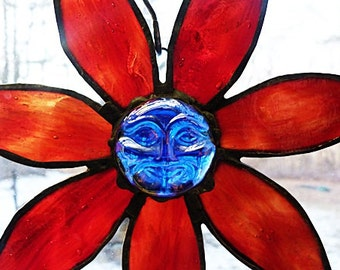 Stained Glass, Fired Red, Flower Cluster, Blue Moon Face, Glass Nugget