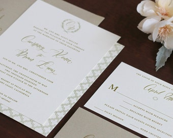 Modern Calligraphy Wedding Invitation, Printed invitation, Rustic Monogram Invitation, Branch Monogram, Gold and Sage Invitation SAMPLE