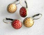Geometric Earrings, Autumn Red, Mustard, Vintage Cabochon Dangles, Antiqued Brass