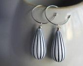 Black and White Stripe Teardrop Earrings, Retro Dangles, Silver Hoops