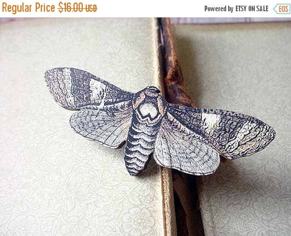 Moth Brooch, Brown and Beige Butterfly Pin, Gift for Collector or Naturalist