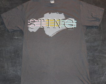 STING grey 1985 Honda Scooters Vintage Concert Tour Tshirt - The Dream of the Blue Turtle