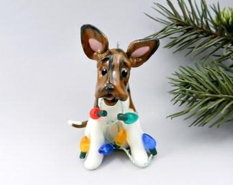 Bull Terrier Brindle Christmas Ornament Figurine Lights Porcelain