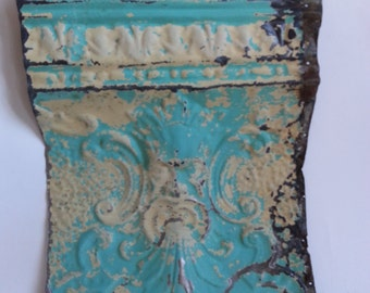 """Antique Salvaged Reclaimed Tin Ceiling Tile 12"""" x16"""" Old Man Of The North 2581-15 Aqua Blue"""