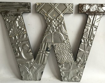 "Reclaimed  Tin Ceiling Wrapped 16"" Letter ""W"" Patchwork Metal Silver Wall Hanging 2626-15i"
