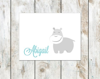 Baby Hippo Thank You Cards - Folded Notes - Hippo Wearing a Winter Hat Notecard - Personalized Hippo
