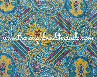 A Stylized Paisley - Vintage Fabric 50s 60s Novelty Colorful 36 in wide
