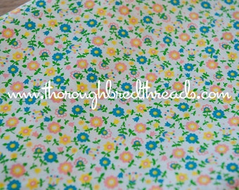 Mod Tulips and Daisies- Vintage Fabric 60s New Old Stock 36 inches wide Happy Pink