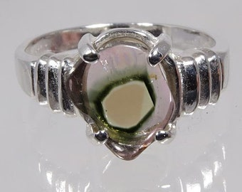 Crystal of Natural Watermelon Multi Color Tourmaline 2.19 carats Hand Set in Sterling Ring - Fast Free Shipping
