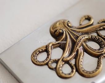 The Octopus Stainless Steel Business Card Case - Antique Gold Plated Brass Made in USA Stamping - Free Domestic Shipping