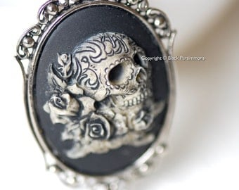Miss Skully Roses Gothic Necklace - Dia De Los Muertos Day of the Dead Skull Cameo - 2 Setting Colors - Insurance Included