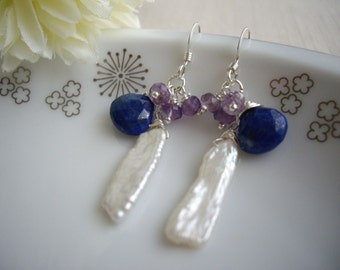 Stick pearl earrings, Birthstone of June, Lapis lazuli and amethyst dangle, OOAK pearl gift, Blue and purple gift for her, Free gift wrap