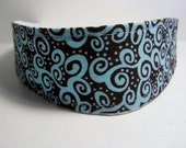 Funky Swirls and Polka Dot Headband Chocolate Brown Turquoise