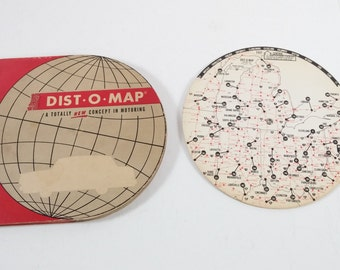 Vintage 1964 Dist-O-Map Vintage Map Car Travel Driving Distance Finder USA Roadtrip Red White Blue