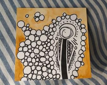 Circles yellow, 3x3 watercolor original