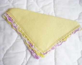 Vintage yellow linen handerchief, with white,yellow,lilac crochet edge, ladies hankie, linen hankie, womens handkerchief