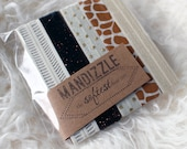 Neutral Safari Set - 5 Printed, Glitter + Metallic Polka Dot Elastic Hair Ties by Mandizzle on Etsy - PREORDER