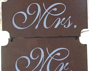Wedding Signs - MR & MRS 12x6 single sided WEDDING sign