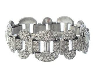 Vintage Art Deco Bracelet, Antique Oval Baguettes Link, 1920s Original Fine Antique Jewelry Wedding, Vintage Bridal Jewelry