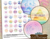 Sacred Geometry Digital Collage Sheet, 1 inch Circle, Boho Collage Sheet, Bottle Cap Images,   Images for Cabochons, Printable Download